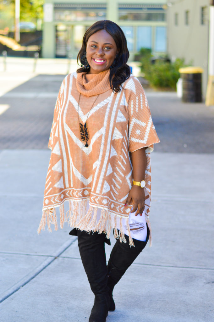 oversized sweaters ponchos white jeans over the knee boots statement earrings wristology fashiongirl style blogger affordable style