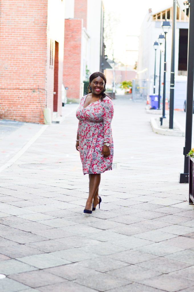How to wear a paisley wrap dress with jessica simpson velvet heels